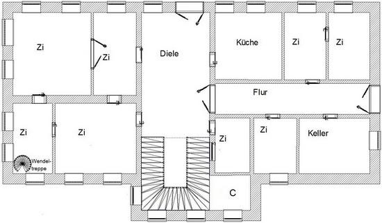 Angenommene Raumaufteilung UG vor 1945