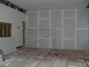 Trockenbauwand vom 2. Bauabschnitt aus
